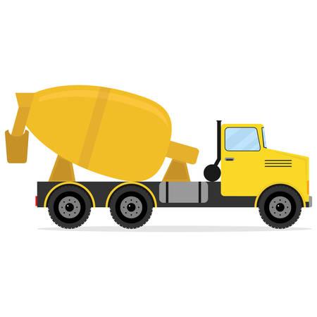 esp: Concrete truck, icon concrete truck. Flat design, vector illustration, vector.