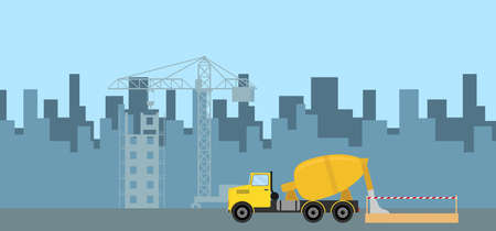Pouring concrete on construction. The concrete truck pours concrete into the formwork. Flat design, vector illustration, vector.