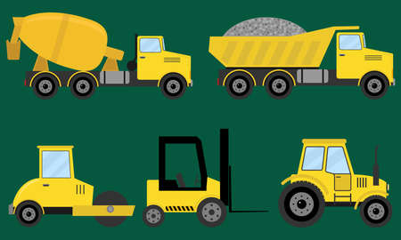 Construction machines, special machinery. Flat design, vector illustration, vector.