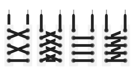 Lacets attachés, schémas d'attacher des lacets. Design plat, illustration vectorielle, vecteur.