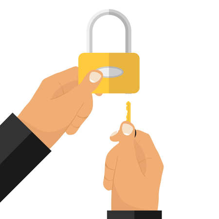 The hand with the key opens the lock. The hand holds the lock.