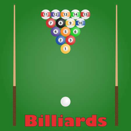 Billiards, billiard balls, cue. Flat design, vector illustration, vector. Illustration