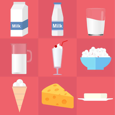 Dairy. Milk, cheese, butter, cottage cheese, yoghurt, ice cream. Flat design, vector illustration, vector. Illustration