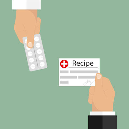 dosage: A recipe in exchange for a medicine. The hand holds out the recipe. Flat design, vector illustration, vector. Illustration