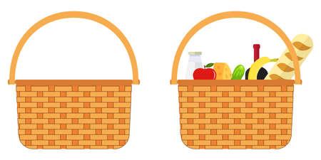 Wicker basket with food. Flat design, vector illustration, vector. Illustration