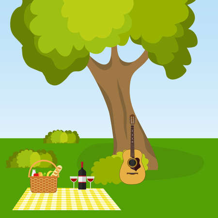 Picnic in nature, outdoor recreation under a tree. Flat design, vector illustration, vector.