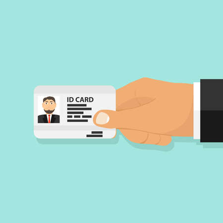 ID card in the persons hand, a person holds an ID card. Flat design, vector illustration, vector. Illustration