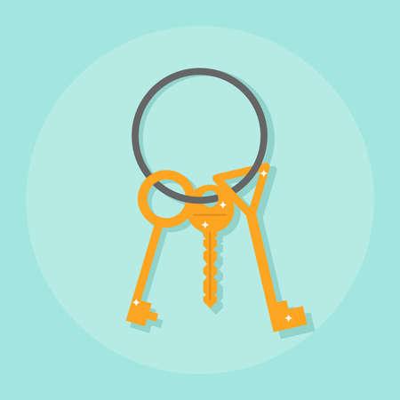 unlocking: A bunch of keys, keys on a metal ring. Flat design, vector illustration, vector.