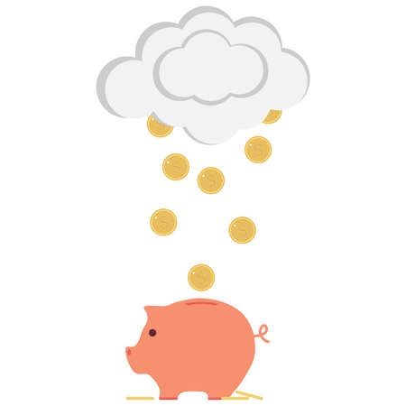 Piggy bank with money. Money falling into piggy bank with clouds. Flat design, vector illustration, vector.