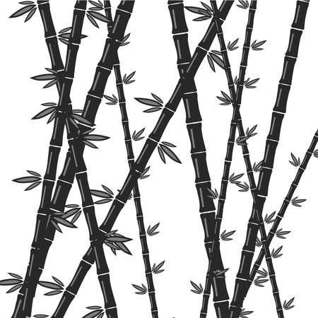 tree isolated: Bamboo in gray. Flat design, vector illustration, vector.
