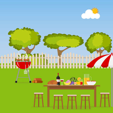 patio set: Camping. A table with food and a grill. Grilling sausages on the grill. BBQ area. Flat design, vector illustration, vector. Illustration