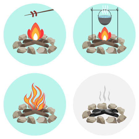 Bonfire, a pot on the fire, fry the sausage at the stake, ashes, coals, firewood. Flat design, vector illustration, vector.