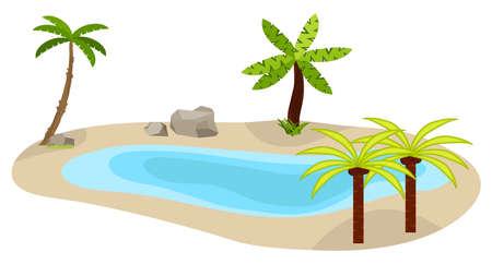 Lac avec des palmiers, une icône de lac, une oasis dans le désert, des palmiers. Escrime d'une exposition de musée. Design plat, illustration vectorielle, vector