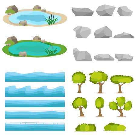 seascapes: Lake, a set of stones, trees, a set of seascapes, a wave. Flat design, vector illustration, vector.