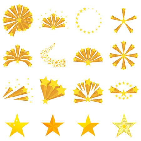 Fireworks of the stars, star explosion. Big set fireworks of the stars Flat design, vector illustration. vector. Ilustrace