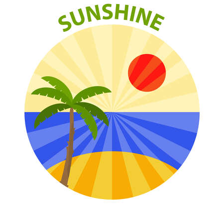 tree logo: Logo of sunshine. Palm against the setting sun and the sea. Flat design, vector illustration, vector. Illustration