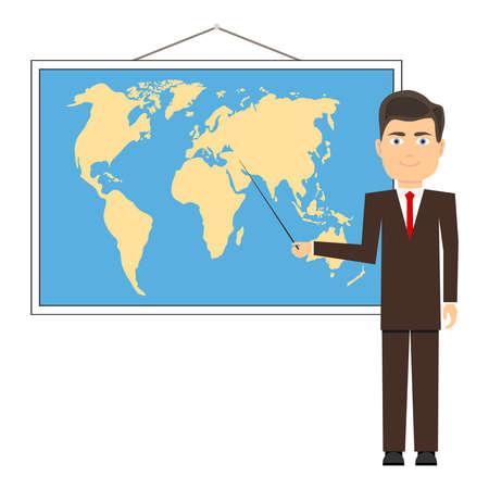 El profesor muestra el puntero en el mapa. Mapa del mundo, lección de geografía. Diseño plano, ilustración vectorial, vector. Ilustración de vector