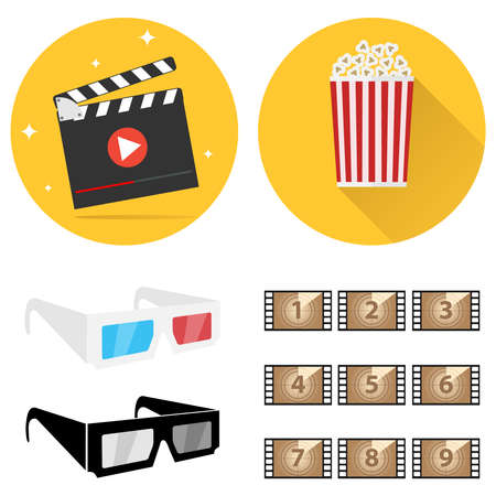 Production of film, film, 3D glasses, popcorn. Shooting a movie. Flat design, vector illustration, vector.