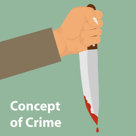 A knife with blood in his hand. The concept of crime. Drops of blood drain from the knife. Flat design, vector illustration, vector.
