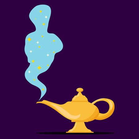 Lamp Aladdin with gin, the magic lamp of Aladdin. Flat design, vector illustration, vector. Illustration