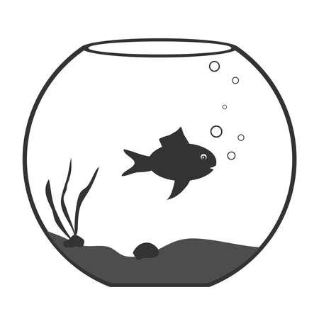 gold fish bowl: Aquarium with fish, aquarium icon. Flat design, vector illustration, vector. Illustration