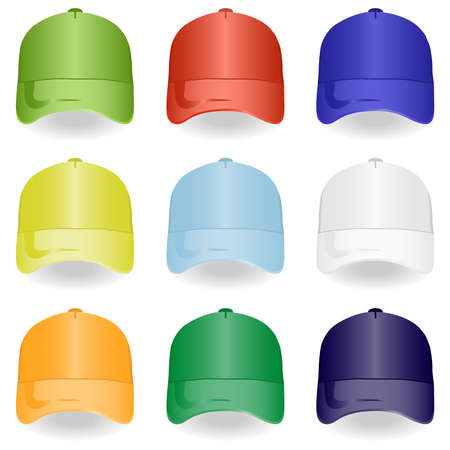 Baseball cap, set of baseball caps. Flat design, vector illustration, vector. Illustration