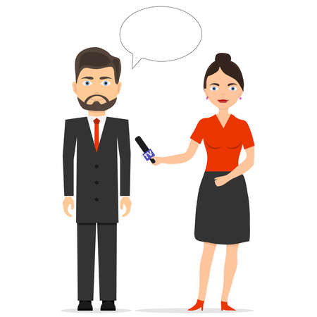 The journalist is interviewing. The girl is a journalist. Flat design, vector illustration, vector.
