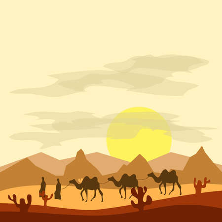 Caravan of camels in the desert, Bedouins lead camels through the desert. Flat design