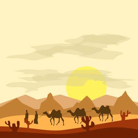 Caravane de chameaux dans le désert, les Bédouins conduisent des chameaux dans le désert. Design plat