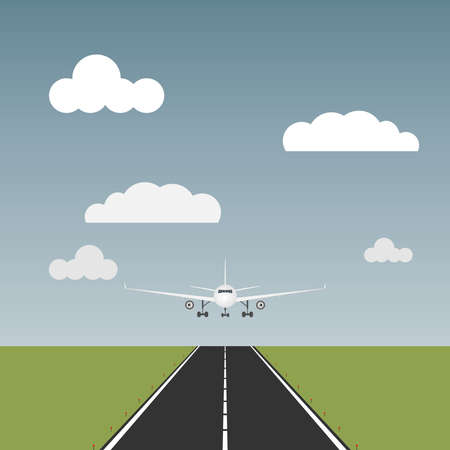 jetliner: The plane comes to land, the plane is on the runway. Flat design, vector illustration, vector.