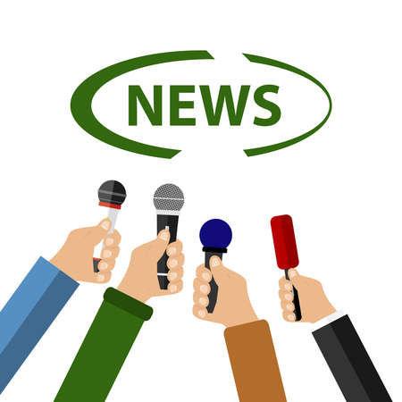 A hand holds a microphone, take an interview, news. Flat design vector illustration, vector.