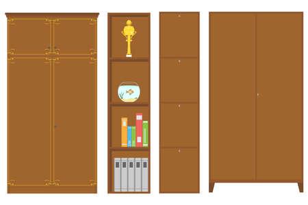 furniture design: Wardrobe, bookcase, wardrobe with shelves. Flat design, vector illustration, vector.