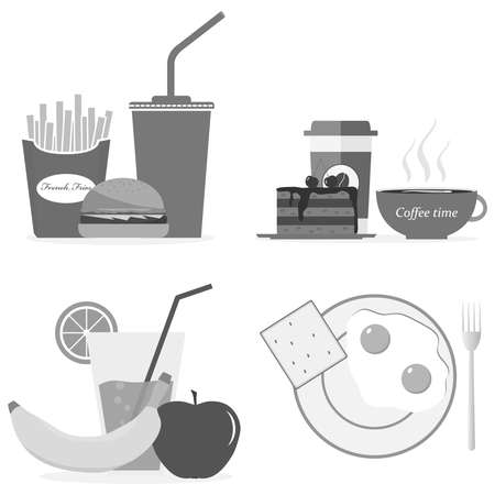 fried: A set of breakfasts in gray, coffee, hamburger, cola, banana, fried eggs. Illustration