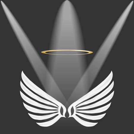 Wings of an angel with a golden halo, white angel wings on a gray background. Flat design, vector illustration, vector.