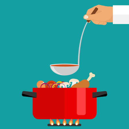 The hand holds a ladle of soup. Casserole with soup on fire. Flat design, vector illustration, vector.