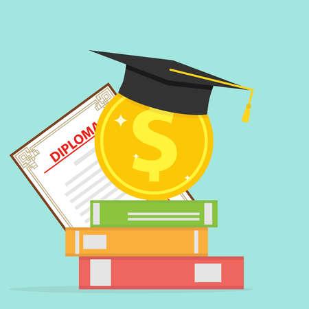 Investimento nell'istruzione Una moneta d'oro con libri e un cappello laureato in un design piatto illustrazione vettoriale Vettoriali