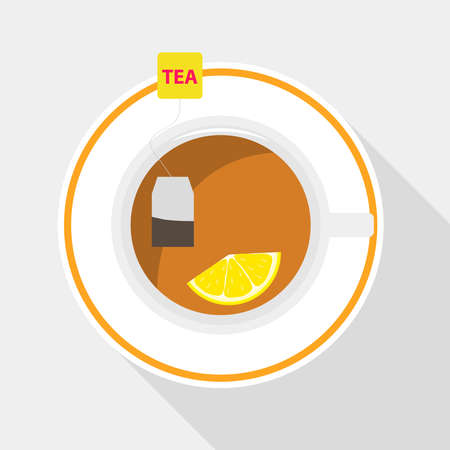 Cup of tea with lemon illustration
