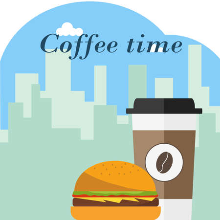 A disposable cup of coffee with a hamburger on a background of the urban landscape. Flat design, vector illustration, vector.