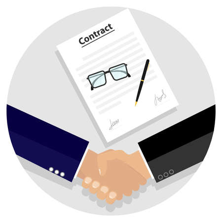 signing: Two businessmen shook hands after signing the contract. Flat design, vector illustration, vector.