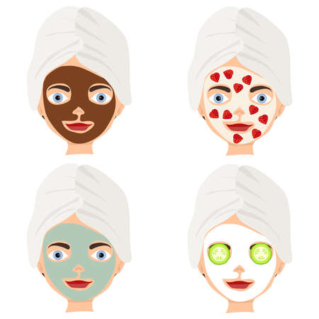 Womens face mask. Cosmetics for face. Flat design, vector illustration, vector.