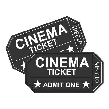 映画のチケットでは、レトロな映画館のチケット。映画館。フラットなデザイン、ベクトル イラスト。  イラスト・ベクター素材