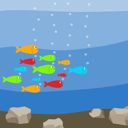 A flock of colorful fish in the water, many fish. Flat design, vector illustration, vector.
