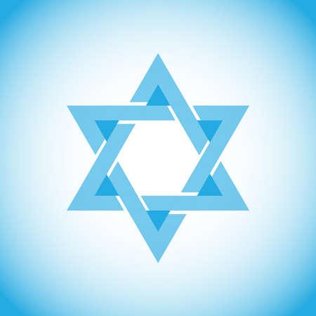 Davidsstern, ein Symbol von Israel, Hebräisch. Flaches Design, Vektorillustration, Vektor.