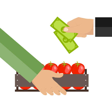 Money in exchange for food. Box with tomatoes. Flat design, vector illustration, vector.