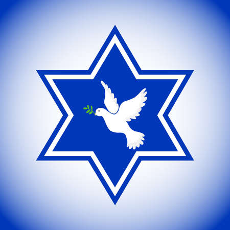 Star of David with the dove of peace, the symbol of Israel. Pigeon of the world with a green twig. Flat design, vector illustration, vector.