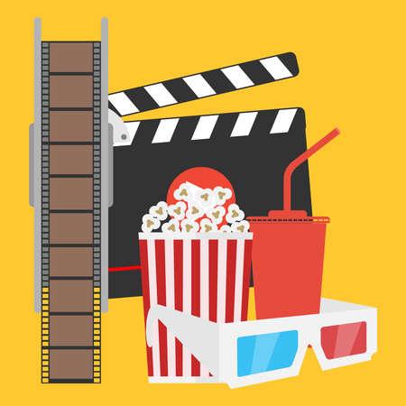 Production of film, film, popcorn, cola, 3d glasses. Flat design vector illustration, vector.