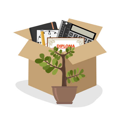 Businessman fired box with office things. Flat design, vector illustration, vector. Stock Illustratie