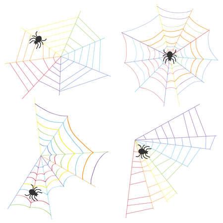 Spinneweb en spin weven een web platte ontwerp vectorillustratie