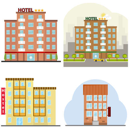 Hotel, a hotel suite, a hostel, a place to stay overnight. Flat design, vector illustration, vector. 向量圖像