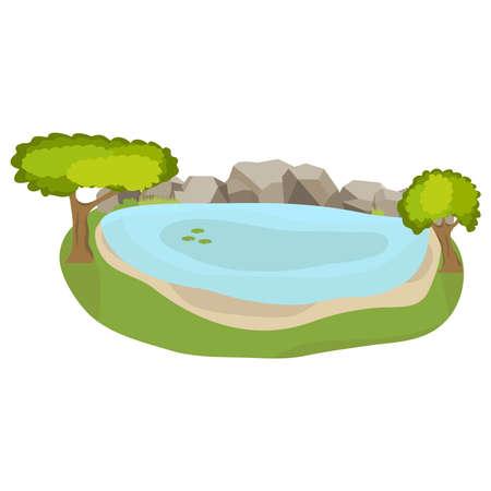 호수, 바위와 함께 현실적인 호수입니다. 플랫 디자인, 벡터 일러스트 레이 션, 벡터.